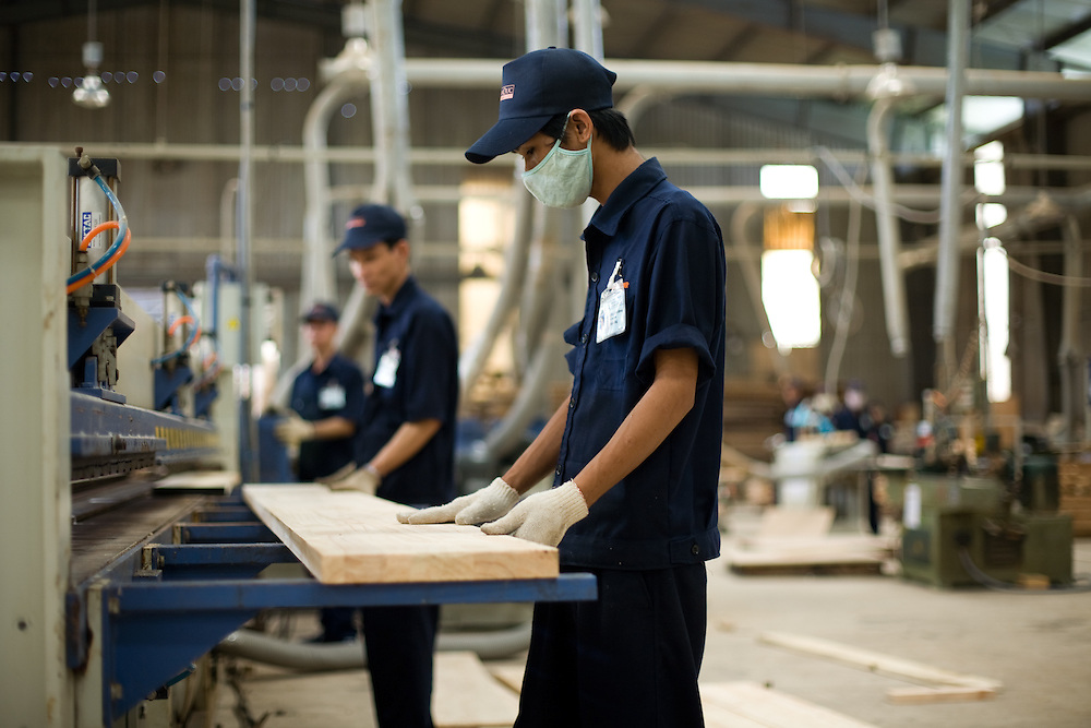 workers at the Tran Duc furniture factory in Binh Duong Province, Vietnam