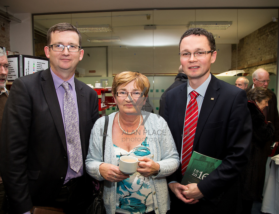 08/12/2015                <br /> Limerick City &amp; County Council launches Ireland 2016 Centenary Programme<br /> <br /> An extensive programme of events across the seven programme strands of the Ireland 2016 Centenary Programme was launched at the Granary Library, Michael Street, Limerick, last night (Monday, 7 December 2015) by Cllr. Liam Galvin, Mayor of the City and County of Limerick.<br /> <br /> Led by Limerick City &amp; County Council and under the guidance of the local 1916 Co-ordinator, the programme is the outcome of consultations with interested local groups, organisations and individuals who were invited to participate in the planning and implementation of events and initiatives during 2016.  <br /> <br /> Pictured at the event were, Gerard greasy, Footsteps To Freedom, Aileen Dilate and Patrick O'Donovan, T.D.. Picture: Alan Place