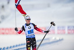March 16, 2019 - –Stersund, Sweden - 190316 Johannes Thingnes Bø of Norway celebrates after the Men's 4x7,5 km Relay during the IBU World Championships Biathlon on March 16, 2019 in Östersund..Photo: Petter Arvidson / BILDBYRÃ…N / kod PA / 92269 (Credit Image: © Petter Arvidson/Bildbyran via ZUMA Press)