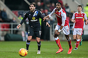 Danny Graham (Blackburn Rovers) and Semi Ajayi (Rotherham United) during the EFL Sky Bet Championship match between Rotherham United and Blackburn Rovers at the AESSEAL New York Stadium, Rotherham, England on 11 February 2017. Photo by Mark P Doherty.