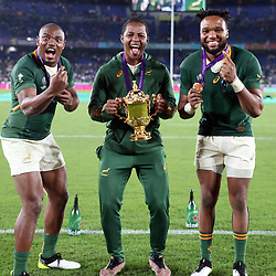 Makazole Mapimpi with Sbu Nkosi and Lukhanyo Am during the Rugby World Cup Final match between South Africa Springboks and England Rugby World Cup Final at the International Stadium Yokohama  Japan.Saturday 02 November 2019. (Mandatory Byline -Steve Haag Sports Hollywoodbets)