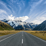 Empty highway on road to Aoraki Mount Cook