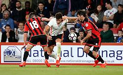 Santi Mina of Valencia tries to get past Lewis Cook and Adam Smith of Bournemouth - Mandatory by-line: Robbie Stephenson/JMP - 03/08/2016 - FOOTBALL - Vitality Stadium - Bournemouth, England - AFC Bournemouth v Valencia - Pre-season friendly