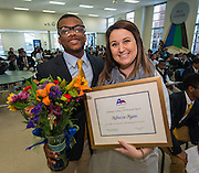 Rebecca Ryan, right, and Xavier Burrell pose for a photograph after Ryan was presented with a Humanities Texas 2015 Outstanding Teaching of the Humanities Award at Leland College Preparatory Academy for Young Men, February 2, 2016.