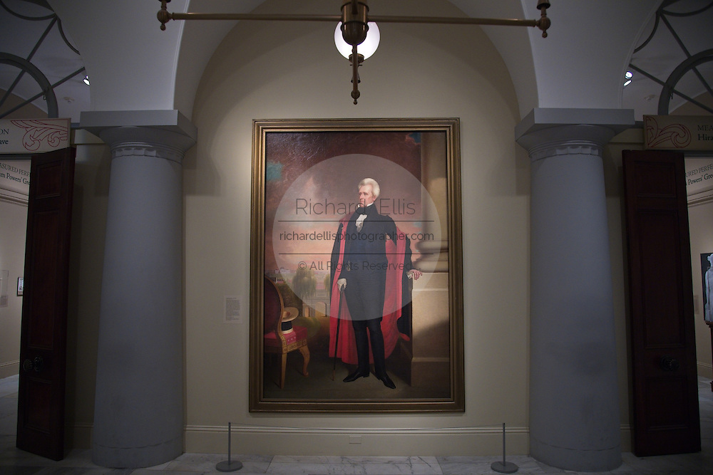 Portrait of President Andrew Jackson by artist Ralph Earl at the National Portrait Gallery art museum, part of the Smithsonian Institution housed in the historic Old Patent Office Building in Washington, DC.