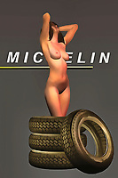 The image of a stunning nude woman with Michelin tires coming up to her ankles is certainly going to make for a fascinating image. With the extraordinary level of detail that can be found in this fine art piece, you are going to be absolutely lost in the possibilities suggested by these images. Michelin is a legendary name that inspires a number of thoughts and feelings. What does it mean to combine this iconic slogan and brand name with something as honest and open as the nude form of a human being? There are a number of different potential answers to that question.