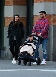 Justin Timberlake and Jessica Biel are pictured with their son Silas after having a late afternoon lunch at Bubby's restaurant in Downtown Manhattan. The couple was all smiles except for their son who was having a tantrum during their outing. Justin and Jessica looked to be in a great mood as they were seen chatting and being very affectionate with each other. Justin was also seen sporting a Mickey Mouse plaid shirt. 23 Feb 2020 Pictured: Justin Timberlake, Jessica Biel and son Silas. Photo credit: LRNYC / MEGA TheMegaAgency.com +1 888 505 6342