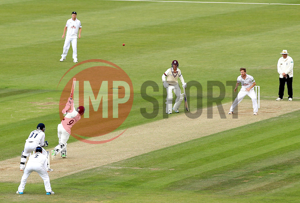 Somerset's Johann Myburgh hits a six to win the game for Somerset - Photo mandatory by-line: Robbie Stephenson/JMP - Mobile: 07966 386802 - 23/06/2015 - SPORT - Cricket - Southampton - The Ageas Bowl - Hampshire v Somerset - County Championship Division One