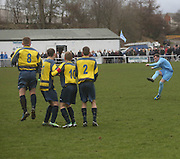 Barry Heggie fires home a free kick to put Fairfield into the lead - Fairfield (light blue) v Bullfrog - Scottish Cup Quarter Final at Fairfield Park<br /> <br />  - &copy; David Young - www.davidyoungphoto.co.uk - email: davidyoungphoto@gmail.com