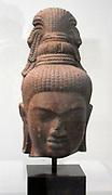 Head of the bodhisattva Maitreya. 8th century, Pre-Angkorian period (1st-7th century A.D) sandstone sculpturefrom Cambodia