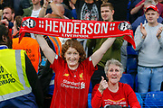 Liverpool football fans, football supporters celebrate Liverpool's 2-1 win in the Premier League match between Chelsea and Liverpool at Stamford Bridge, London, England on 22 September 2019.