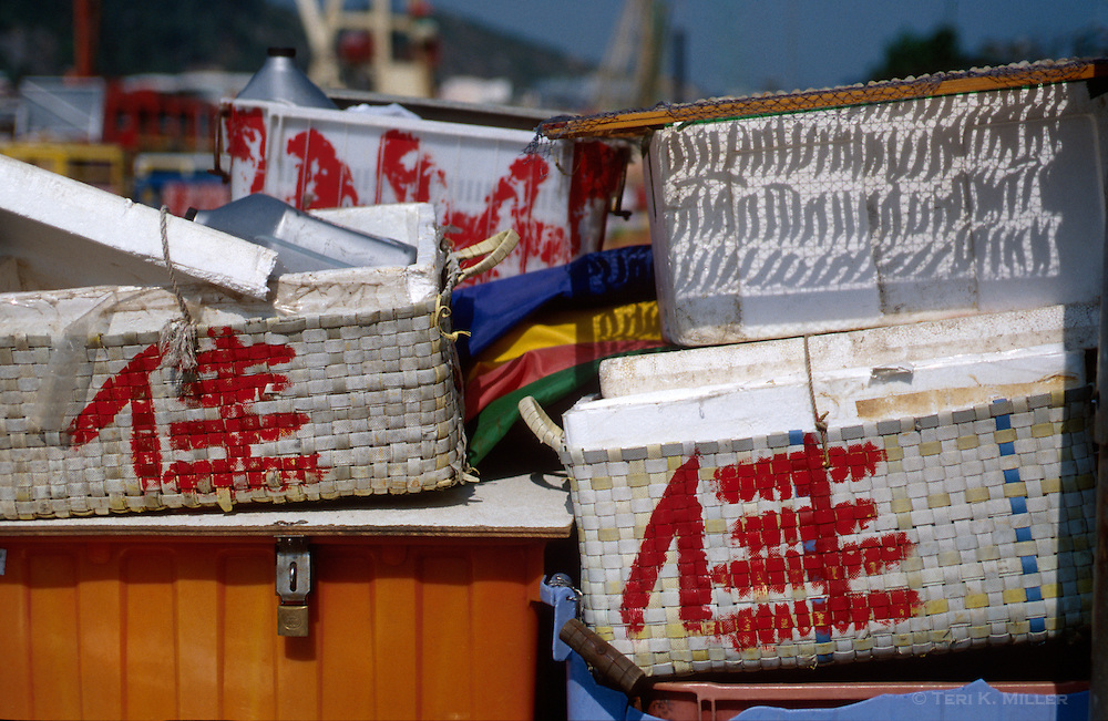 Seafood drying in the sun on Cheung Chau Island, Hong Kong, China.