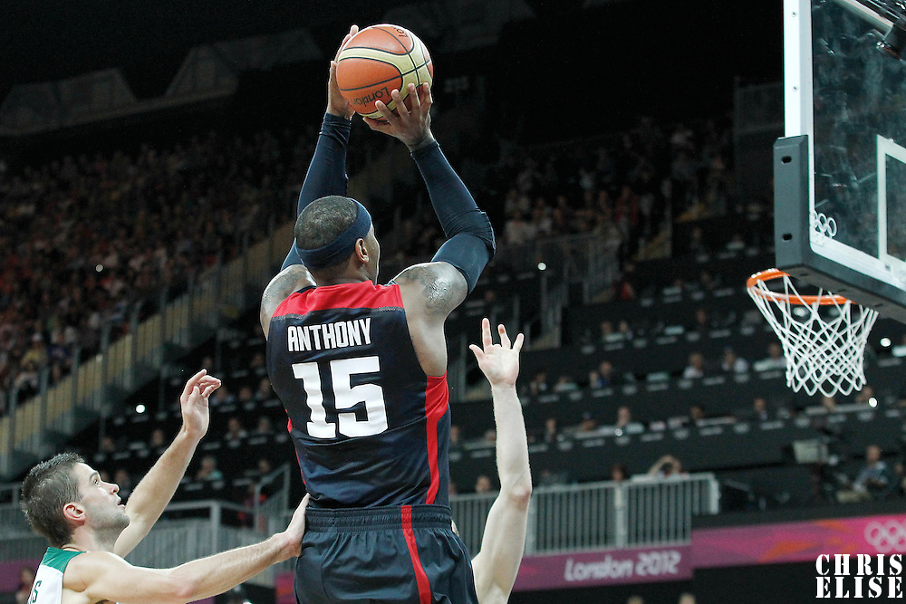 04 August 2012: USA Carmelo Anthony takes a jumpshot during 99-94 Team USA victory over Team Lithuania, during the men's basketball preliminary, at the Basketball Arena, in London, Great Britain.