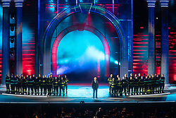ANDREA BOCELLI ON STAGE WITH ITALIAN FIREFIGHTERS<br /> CONCERT ANDREA BOCELLI'S NIGHT IN VERONA ARENA<br /> VERONA (ITALY) SEPTEMBER 9, 2018<br /> PHOTO BY FILIPPO RUBIN