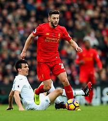 Adam Lallana of Liverpool takes on Jack Cork of Swansea City - Mandatory by-line: Matt McNulty/JMP - 21/01/2017 - FOOTBALL - Anfield - Liverpool, England - Liverpool v Swansea City - Premier League