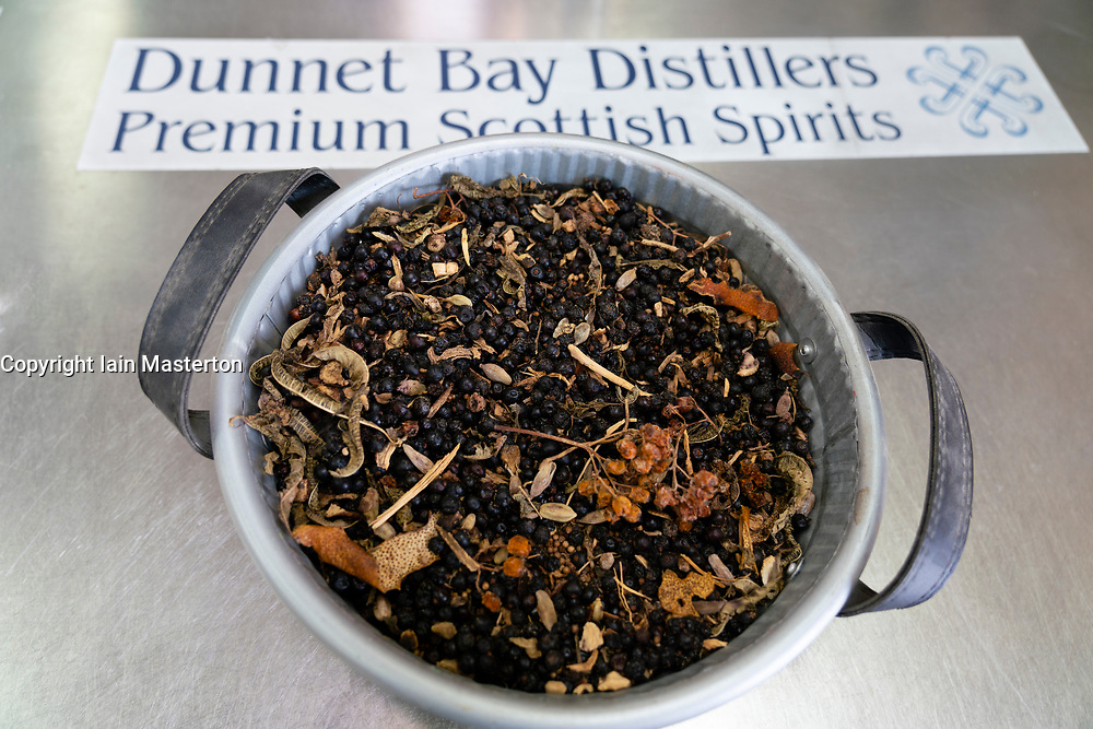 Basket of dried botanicals at  Dunnet Bay Distillery in Caithness on  the North Coast 500 scenic driving route in northern Scotland, UK