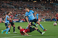 October 08, 2016: Western Sydney Wanderers midfielder Steve LUSTICA (7) tries to get the ball past Sydney FC forward Bobo (9) at Round 1 of the 2016 Hyundai A-League match, between Western Sydney Wanderers and Sydney FC, played at ANZ Stadium in Sydney. Sydney FC won the game 4-0.