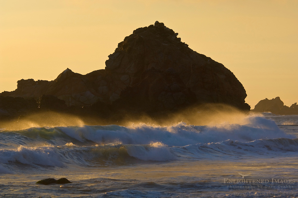 Coastal rocks and waves crashing at sunset, Pfeiffer Beach, Big Sur, California