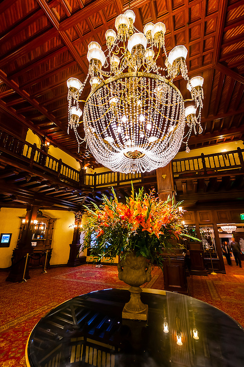 A chandelier in the lobby of the Hotel del Coronado, Coronado Island (San Diego), California USA.