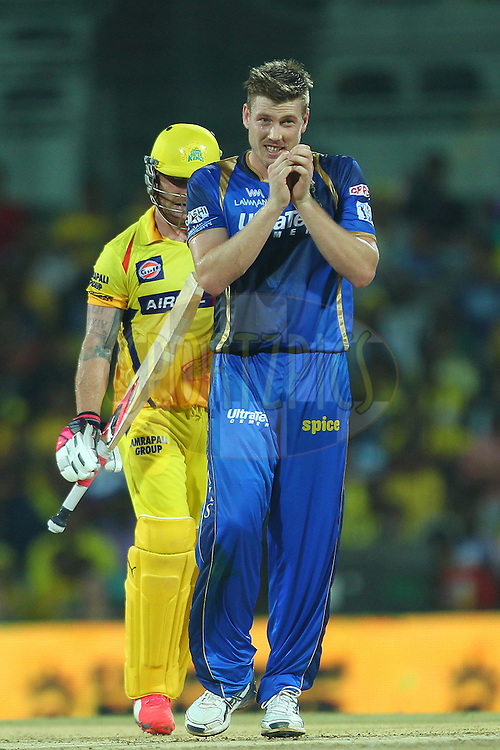 James Faulkner of the Rajasthan Royals shows his frustration during match 47 of the Pepsi IPL 2015 (Indian Premier League) between The Chennai Superkings and The Rajasthan Royals held at the M. A. Chidambaram Stadium, Chennai Stadium in Chennai, India on the 10th May 2015.<br /> <br /> Photo by:  Ron Gaunt / SPORTZPICS / IPL