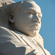 Bust of MLK, part of the statue of Dr King by artist Lei Yixin at the Martin Luther King Jr Memorial on the banks of the Tidal Basin in Washington DC.