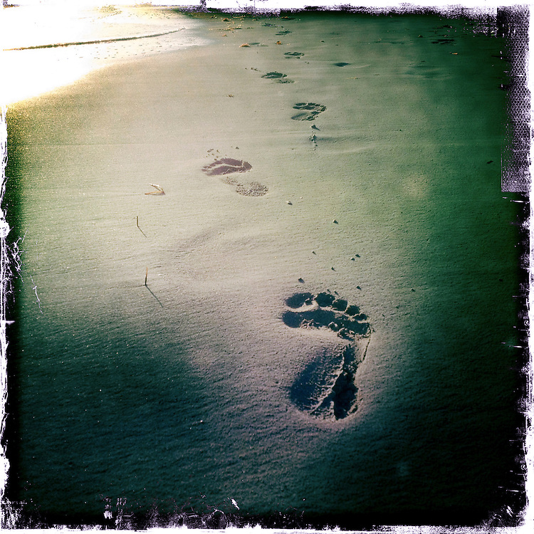 Footsteps on Varadero Beach, Gulf of Mexico, Cuba.<br />