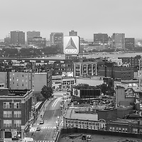 East Cambridge Boston skyline aerial black and white photo with the Citgo sign, Fenway Park, Kenmore Square, Harvard Bridge, and the Charles River. Boston Massachusetts is a major city in the Eastern United States of America. Copyright ⓒ Paul Velgos with All Rights Reserved.