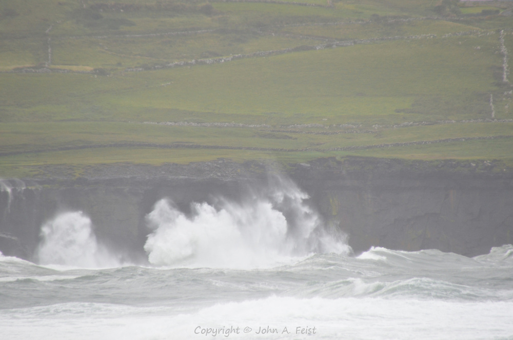 Waves breaking against the far shore. The water was so rough it was boiling.  County Clare, Ireland.