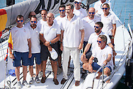 King Felipe VI of Spain  At The Royal Yacht Club, In Palma, Mallorca With The Yacht 'AIFOS' And Crew Before Competing In The 5th Day Of The Copa Del Rey Sailing Cup at RCNP on August 5, 2016 in Palma, Mallorca.