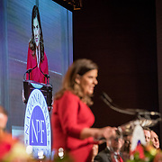 Nicole Carroll speaks after receiving the Benjamin C. Bradlee Editor of the Year Award during the National Press Foundation awards dinner in Washington, D.C. on Thursday, February 15, 2018. Carroll, who had been at the Arizona Republic since 1999, was named the editor in chief of USA TODAY on Wednesday, February 14, 2018.  --    Photo by John Boal, Freelance