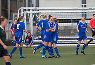 Danni McGinley is congratulated after scoring the second - Forfar Farmington v Edinburgh University Hutchison Vale in SWPL2 at Station Park Forfar - picture by David Young<br /> <br />  - &copy; David Young - www.davidyoungphoto.co.uk - email: davidyoungphoto@gmail.com