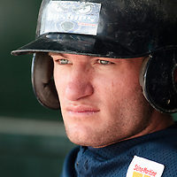 25 April 2010: Joris Bert of Rouen sits in the dugout during game 2/week 3 of the French Elite season won 12-0 by Rouen over the PUC, at the Pershing Stadium in Vincennes, near Paris, France.