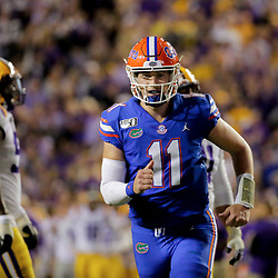 Oct 12, 2019; Baton Rouge, LA, USA; Florida Gators quarterback Kyle Trask (11) celebrates after a touchdown against the LSU Tigers during the first half at Tiger Stadium. Mandatory Credit: Derick E. Hingle-USA TODAY Sports