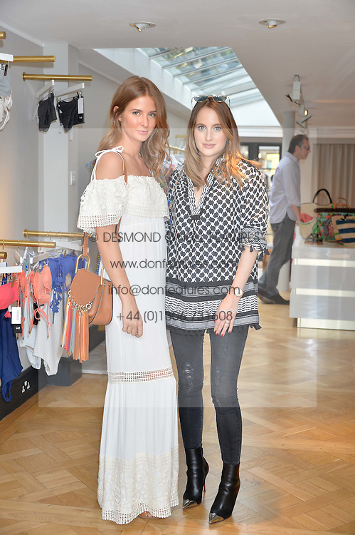 Left to right, MILLIE MACKINTOSH and ROSIE FORTESCUE at the launch of the new Salt store at 91 Walton Street, London on 7th July 2016.