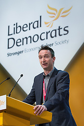 © Licensed to London News Pictures . 07/10/2014 . Glasgow , UK . JOHN LEACH , MP for Manchester Withington , speaks . The Liberal Democrat Party Conference 2014 at the Scottish Exhibition and Conference Centre in Glasgow . Photo credit : Joel Goodman/LNP