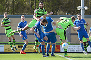 Forest Green Rovers defender Curtis Tilt (2) just misses making contact with a cross 0-0 during the Vanarama National League match between Forest Green Rovers and North Ferriby United at the New Lawn, Forest Green, United Kingdom on 1 April 2017. Photo by Alan Franklin.