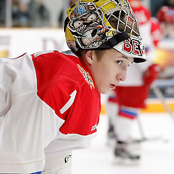 TRENTON, - Dec 10, 2015 -  Exhibition Game 3-  Russia vs Team Canada West at the 2015 World Junior A Challenge at the Duncan Memorial Gardens, ON. Mikhail Berdin #1 of Team Russia during the pre-game warmup  (Photo: Amy Deroche / OJHL Images)