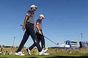 Tiger Woods (Usa) and Justin Thomas (Usa) during the practice round of Ryder Cup 2018, at Golf National in Saint-Quentin-en-Yvelines, France, September 27, 2018 - Photo Philippe Millereau / KMSP / ProSportsImages / DPPI