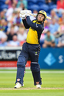 Colin Ingram of Glamorgan skies a shot<br /> <br /> Photographer Craig Thomas/Replay Images<br /> <br /> Vitality Blast T20 - Round 4 - Glamorgan v Middlesex - Friday 26th July 2019 - Sophia Gardens - Cardiff<br /> <br /> World Copyright © Replay Images . All rights reserved. info@replayimages.co.uk - http://replayimages.co.uk
