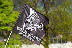11.04.2011, Hoellenriedstadion, Hohenems, AUT, EFAF CUP, Gruppe 2, Cineplexx Blue Devils vs. Kragujevac Wild Boars, im Bild die Clubfahne der (Wild Boars Kragujevac), the flag of the club (Wild Boars Kragujevac)  EXPA Pictures © 2011, PhotoCredit: EXPA/ P. Rinderer