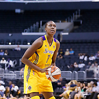 24 July 2014: Los Angeles Sparks forward/center Sandrine Gruda (7) is seen at the free throw line during the Phoenix Mercury 93-73 victory over the Los Angeles Sparks, at the Staples Center, Los Angeles, California, USA.