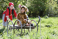 Portrait of boy (7-9) wearing pirate costume pushing boy (5-6) in cart in jaguar costume garden