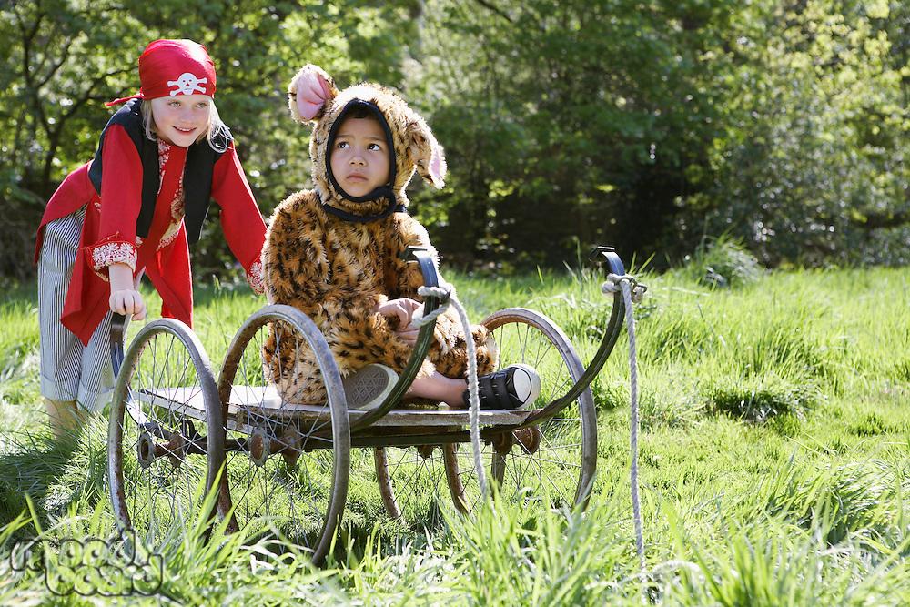 Portrait of boy (7-9) wearing pirate costume pushing boy (5-6) in cart in jaguar costume garden