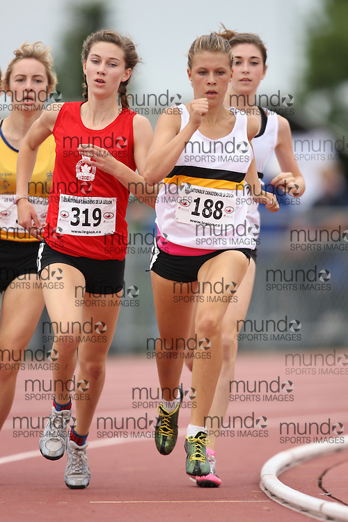 Sherbrooke, Quebec ---09/08/09---  Erin Teschuk of Manitoba competes in the 3000 metres at the 2009 Legion Canadian Youth Track and Field Championships in Sherbrooke, Quebec, August 10, 2009..HO/ Athletics Canada (credit should read GEOFF ROBINS/Mundo Sport Images/ Athletics Canada)..