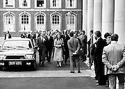 British Prime Minister Margaret Thatcher arrives at Dublin Castle to Take part in the EEC Leaders' summit.<br />