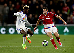 Stewart Downing of Middlesbrough takes on Didier Ndong of Sunderland - Mandatory by-line: Robbie Stephenson/JMP - 26/04/2017 - FOOTBALL - Riverside Stadium - Middlesbrough, England - Middlesbrough v Sunderland - Premier League