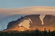 Cloud cap on Lassen Peak at sunrise, Lassen Volcanic National Park, California