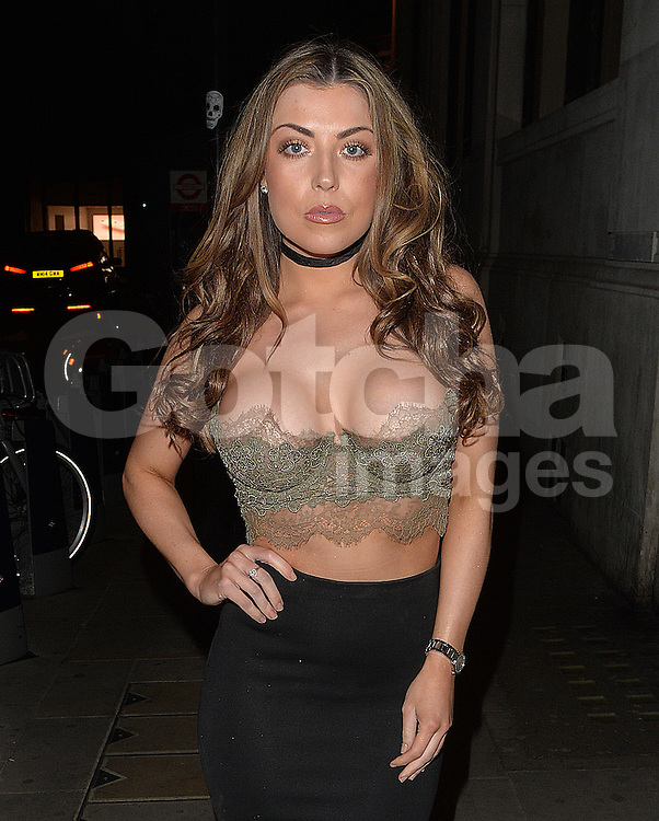 Former TOWIE star Abigail Clarke and Junaid Ahmed enjoy a night out at the Masion House nightclub in London, UK. 23/04/2016<br />