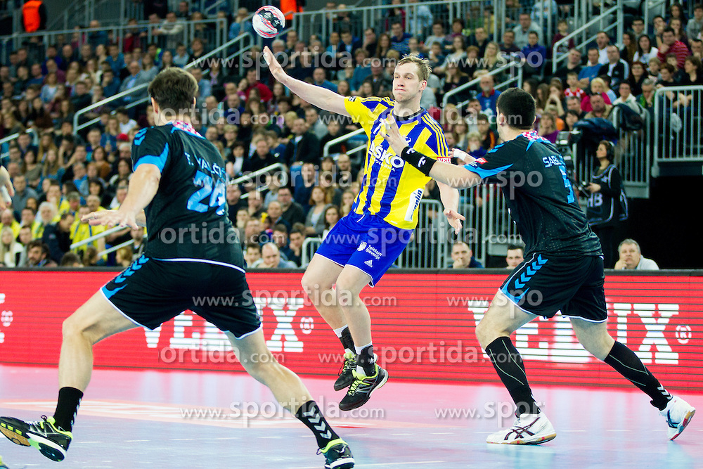 Povilas Babarskas of RK Celje Pivovarna Lasko during handball match between PPD Zagreb (CRO) and RK Celje Pivovarna Lasko (SLO) in 13th Round of Group Phase of EHF Champions League 2015/16, on February 27, 2016 in Arena Zagreb, Zagreb, Croatia. Photo by Urban Urbanc / Sportida