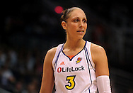 June 10, 2010; Phoenix, AZ, USA; Phoenix Mercury guard Diana Taurasi reacts during the second half in at US Airways Center.  The Mercury defeated the Lynx 99-88.  Mandatory Credit: Jennifer Stewart-US PRESSWIRE
